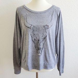 Haute Hippie Bull Cow Skull Long Sleeved Top M/L